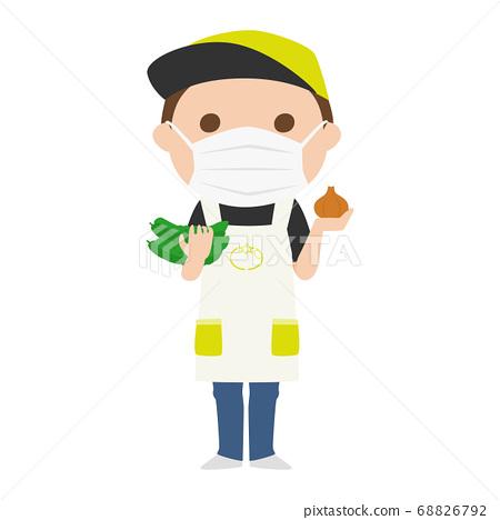 戴著面具的蔬菜水果商的人的例證。 68826792