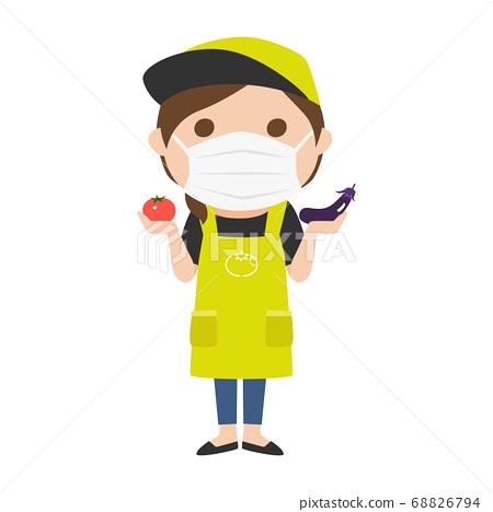 戴著面具的蔬菜水果商婦女的例證。 68826794