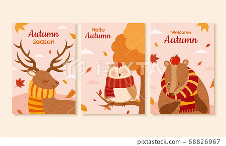 Autumn forest cover design 68826967