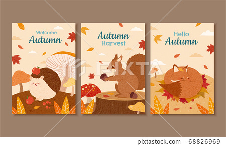 Autumn forest cover design 68826969