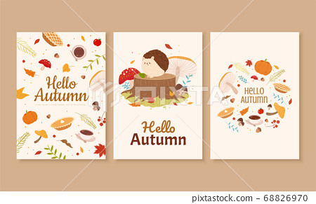 Autumn forest cover design 68826970