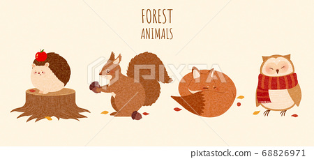 Set of autumn forest animal element 68826971