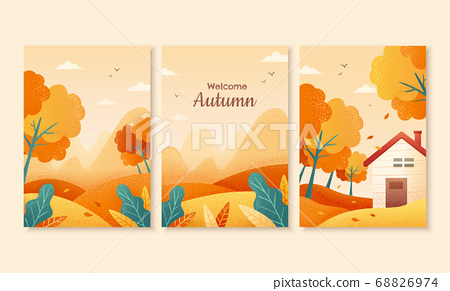 Autumn scene cover design 68826974