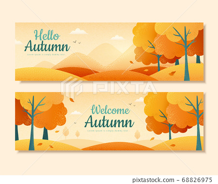 Autumn scene banner design 68826975