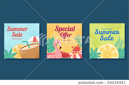 Summer square web banner template 68826981
