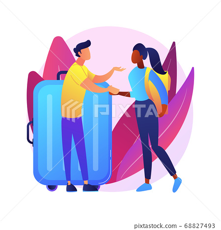 Integration of migrants abstract concept vector illustration. 68827493