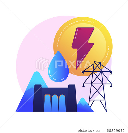 Hydroelectric power station, water mass energy using, dam and reservoir vector concept metaphor. 68829052