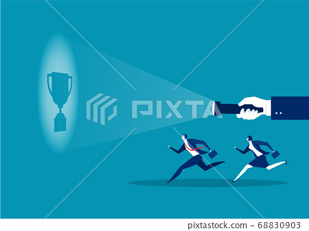 businessman running guideline to get award for work success concept vector illustrator 68830903