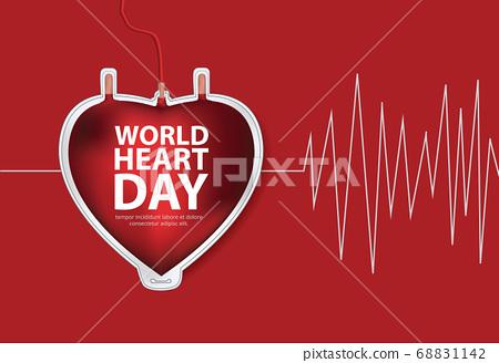 World Heart Day Poster Design Template Vector Illustration 68831142