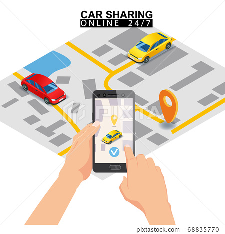 Car sharing isometric. Smartphone screen with city map route and points location car. Online mobile application order service. Vector illustration for car sharing service advertisement, promotion 68835770