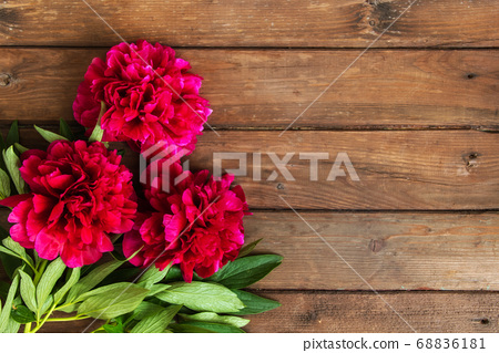 Bright peony flowers on brown wooden table. womans 68836181