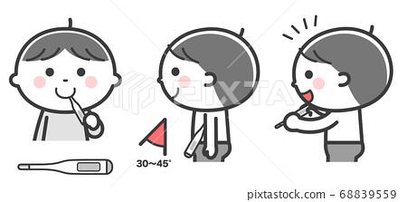 測量體溫的男孩(嘴,腋窩)/ 2色 68839559