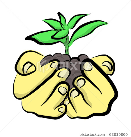 hand holding green plant vector illustration 68839800
