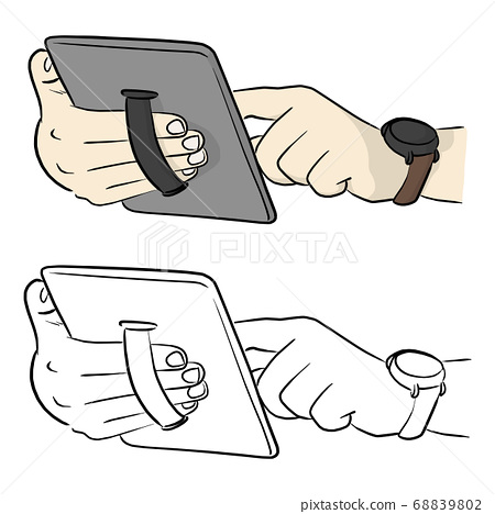 hand holding tablet PC with elastic finger strap 68839802
