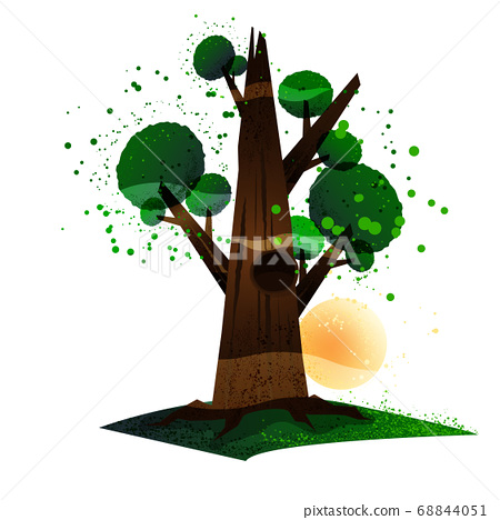 Tree and sun. Flat cartoon style. Vector 68844051