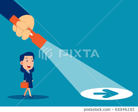 Business leader flashlight uncovering hidden arrow 68846285