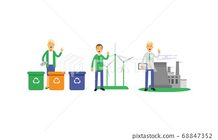 People Characters Contributing into Environment Preservation by Recycling and Using Alternative Energy Vector Illustration Set 68847352