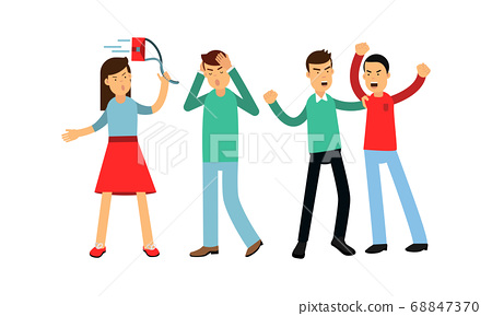 Warring Male and Female Fighting and Yelling at Each Other Vector Illustration Set 68847370
