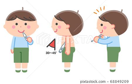 男孩測量體溫(口,腋窩)設置/無輪廓線 68849209