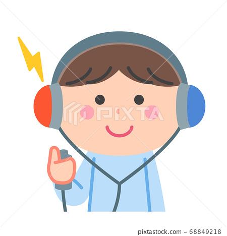 做健康檢查/聽力測試/沒有輪廓線的男孩 68849218