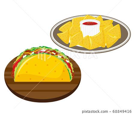 玉米餅,生菜和絞肉玉米餅玉米餅 68849416