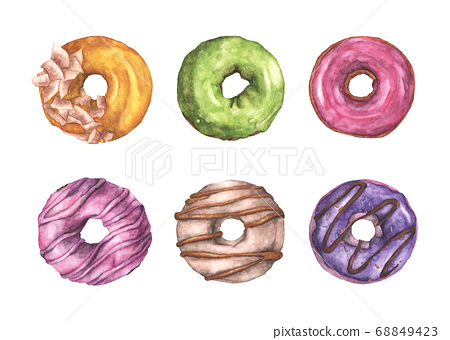 Set of colorful donuts. Watercolor illustration. 68849423
