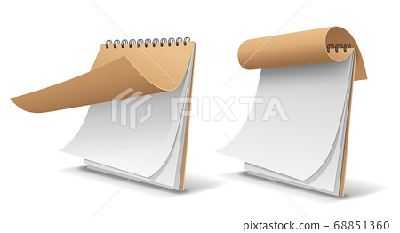 Sketch book brown cover paper, template design isolated 68851360