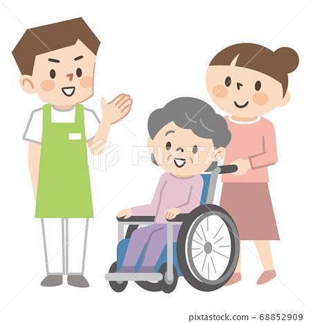 휠체어 노인 여성과 개호 직원 68852909