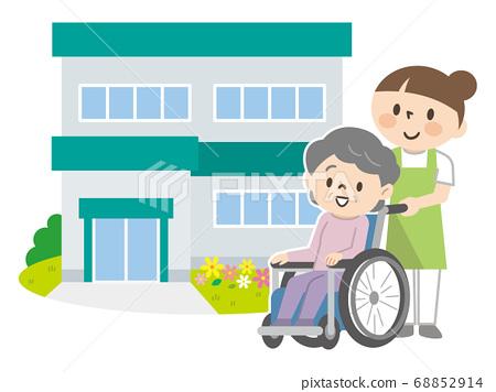 Senior women in nursing homes and wheelchairs and nursing staff 68852914