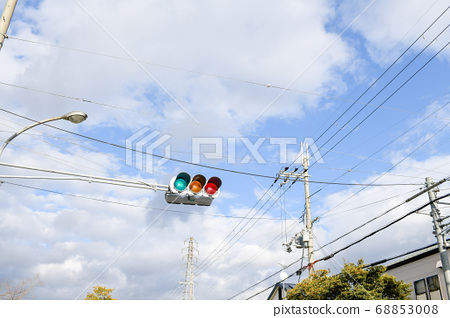 Blue sky and green light 68853008