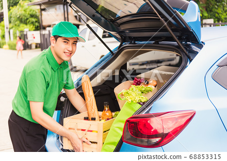 Delivery man grocery prepare fresh vegetables food 68853315