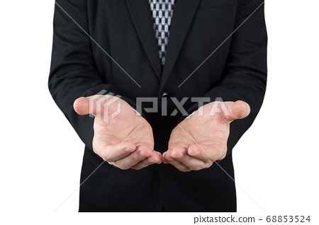 Businessman in Black Suit Holding Hands As If He Was Holding Globe Or An Object 68853524