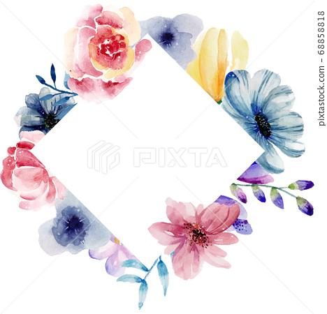 수채화 물감으로 쓰여진 꽃 화려한 배경 텍스트 엔 68858818