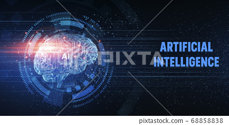 Artificial intelligence concept website banner with brain shape made from circuit dots 68858838