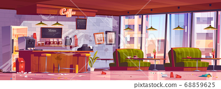 Old dirty abandoned coffee shop with mess 68859625