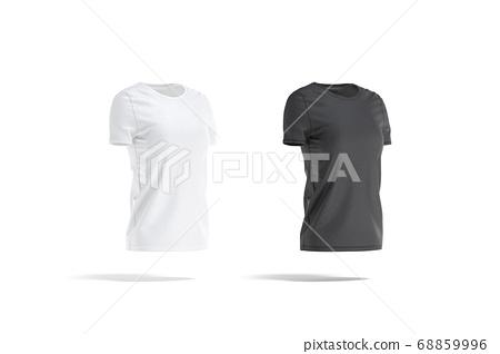 Blank black and white women t-shirt mockup set, side view 68859996
