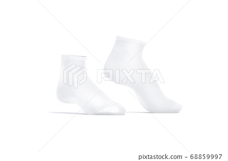 Blank white ancle socks pair mock up toe, side view 68859997