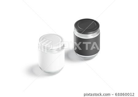 Blank glass jar with black and white label mockup, isolated 68860012