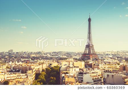 Skyline of Paris with Eiffel Tower, France 68860369
