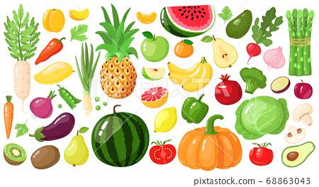 Cartoon fruits and vegetables. Vegan lifestyle food, organic nutrition vegetable and fruit, avocado, asparagus and mango vector illustration set 68863043