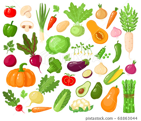 Cartoon vegetables. Vegan veggies food, tomato, pumpkin, zucchini and carrot, vegetarian fresh raw vegetable vector illustration icons set 68863044