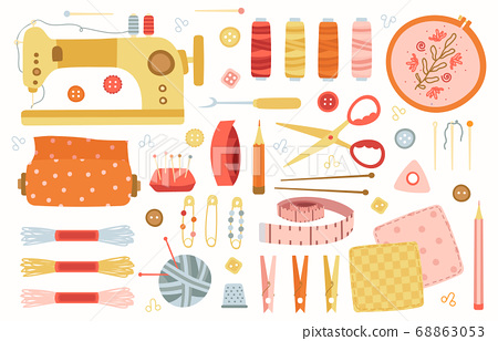 Sewing elements. Needlework handmade hobby tools, sewing, needlework, knitting accessories, machine, needles and scissors vector illustration set 68863053