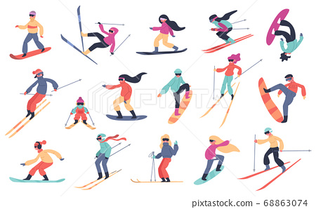 Skiing snowboarding people. Winter sport activities, young people on snowboard or ski, extreme mountain sports isolated vector illustration set 68863074