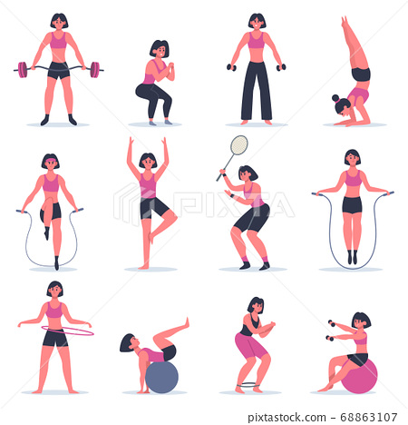 Girl exercising. Young woman fitness exercising, squats, practice yoga and tennis, girl at sport gym or training at home vector illustration set 68863107