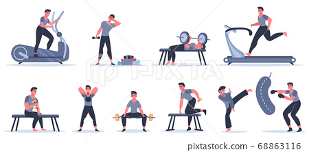 Men at sport gym. Male fitness character run, pull up, work with punching bag, sport character exercise at sport gym vector illustration set 68863116
