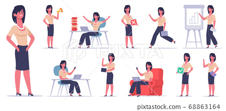 Female office character. Businesswoman finance worker, professional business employee, success female office team worker vector illustration set 68863164