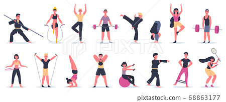 Fitness sport activities. People activity training, male female characters performing sports, martial arts and yoga vector illustration icons set 68863177