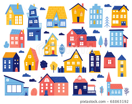 Doodle cottages. Cute tiny town houses, minimal suburban houses, residential town buildings isolated vector illustration icons set 68863192