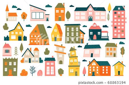 Cute tiny houses. Cartoon small town houses, minimalism city buildings, minimal suburban residential house vector illustration icons set 68863194