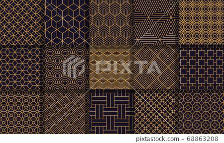 Geometric seamless patterns. Graphics style striped texture, vintage decorative maze patterns, geometric stripes vector ornaments set 68863208